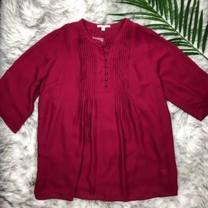 Woman Within Burgundy Button Blouse Large NEW